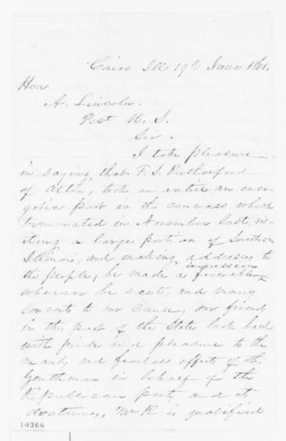 James C. Sloo to Abraham Lincoln, Wednesday, June 19, 1861  (Recommendation; endorsed by Robert Kirkham)