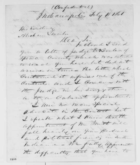 James C. Veatch to Abraham Lincoln, Monday, February 18, 1861  (Opposes appointment of Caleb Smith to cabinet)