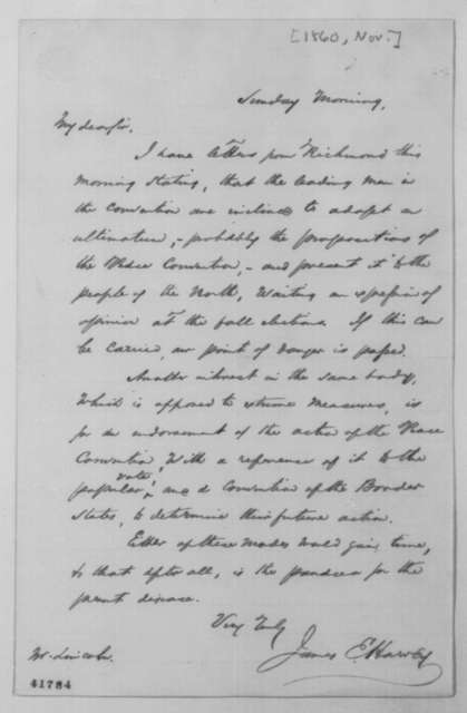 James E. Harvey to Abraham Lincoln, [March 1861]  (Actions of Virginia Convention)