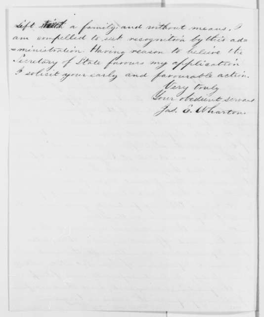 James E. Wharton to Abraham Lincoln, Saturday, July 27, 1861  (Seeks consular appointment)