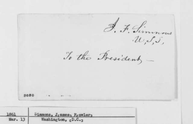 James F. Simmons to Abraham Lincoln, Wednesday, March 13, 1861  (Rhode Island patronage)