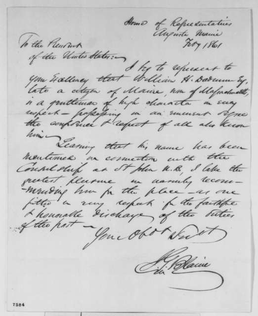 James G. Blaine to Abraham Lincoln, February 1861  (Recommendation)
