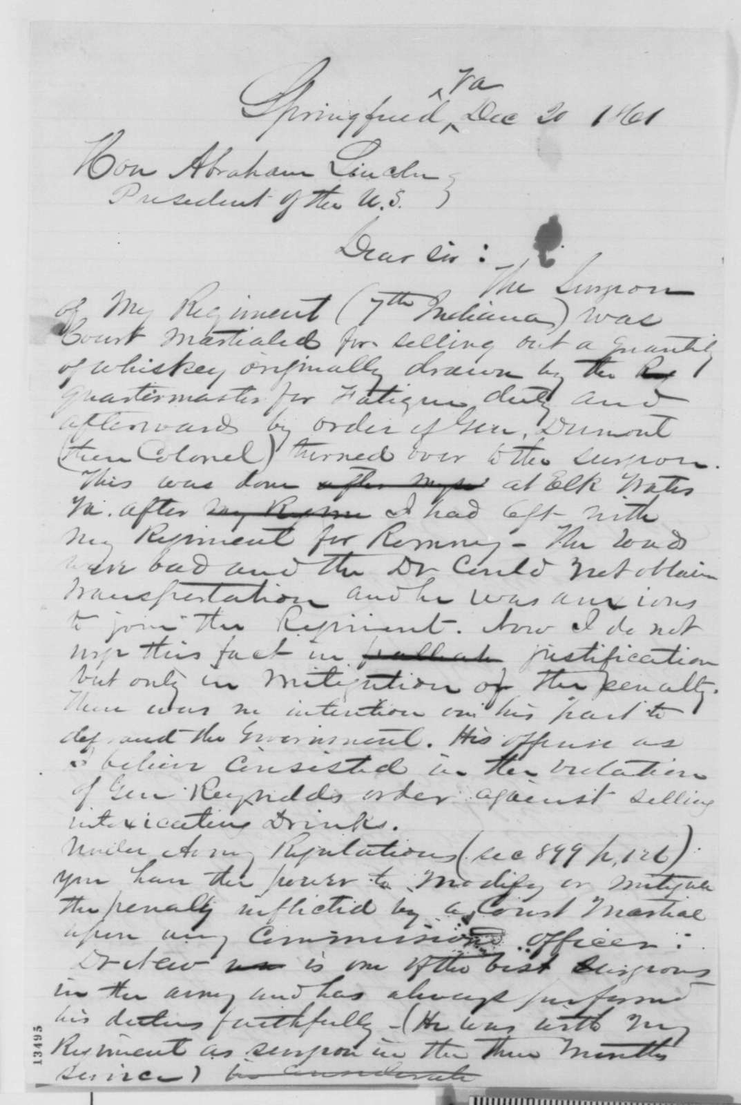 James Gavin to Abraham Lincoln, Friday, December 20, 1861  (Military affairs)
