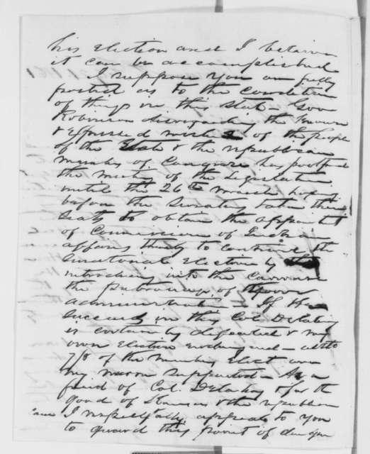 James H. Lane to Abraham Lincoln, Thursday, February 21, 1861  (Kansas politics; Mark Delahay)