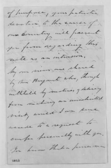 James H. Van Alen to Abraham Lincoln, Saturday, January 05, 1861  (Opposes Cameron)