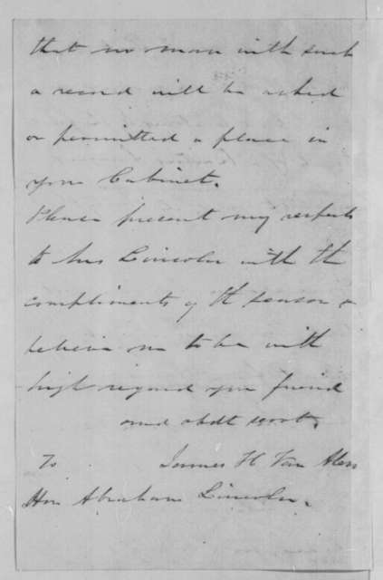 James H. Van Alen to Abraham Lincoln, Tuesday, January 01, 1861  (Compromise and the cabinet)