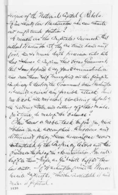 James Henderson to Abraham Lincoln, Tuesday, April 16, 1861  (Support and rumors of conspiracy to seize Washington)