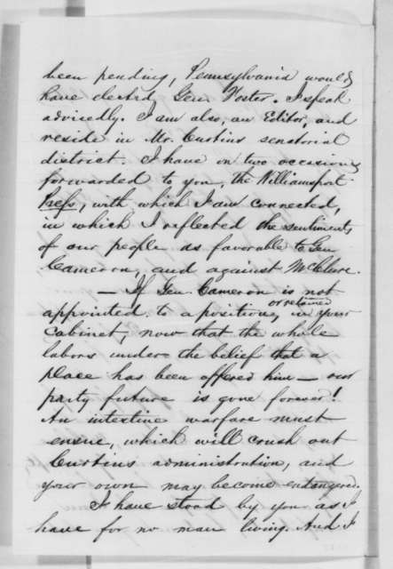 James L. Rightmyer to Abraham Lincoln, Saturday, January 12, 1861  (Supports Cameron)