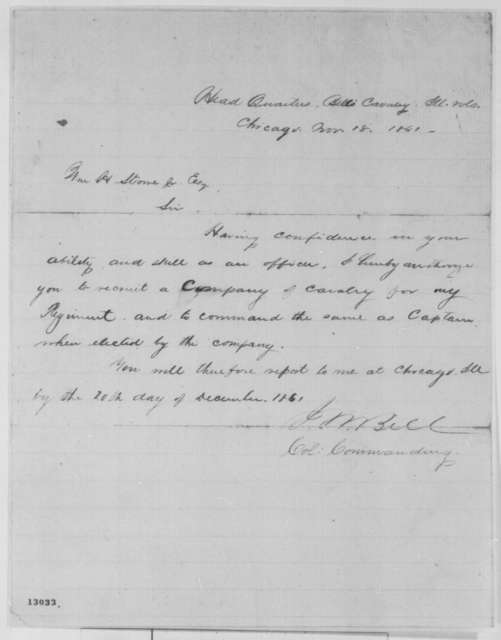 James M. Bell to William H. Stowe Jr., Monday, November 18, 1861  (Military affairs)