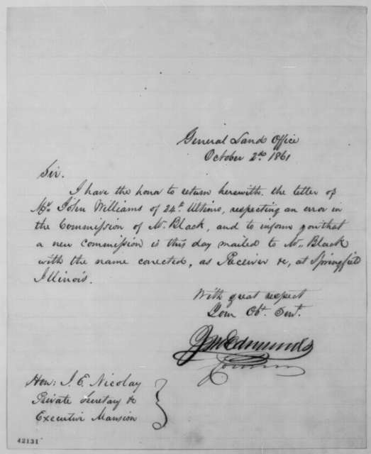 James M. Edmunds to John G. Nicolay, Wednesday, October 02, 1861  (Cover letter)
