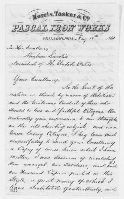 James Nicholson to Abraham Lincoln, Saturday, May 18, 1861  (Sends writings)