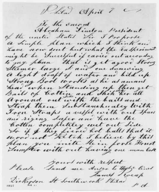 James Peocap to Abraham Lincoln, Sunday, April 07, 1861  (Proposal for relieving Fort Sumter)