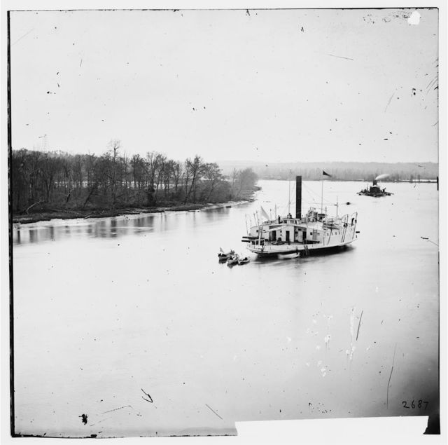 James River, Virginia. Gunboat COMMODORE PERRY and monitor on James River