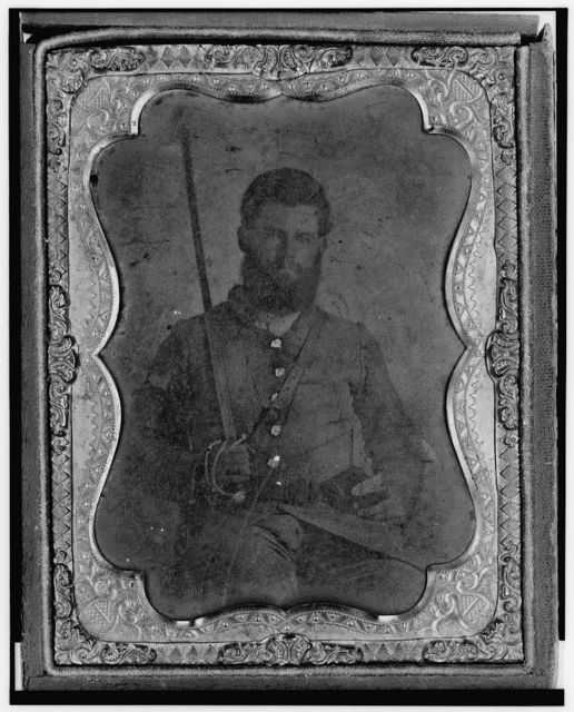 [James S. Dodd, Pvt., Co. C, 4th South Carolina Cavalry, half-length portrait, seated holding saber, facing front]