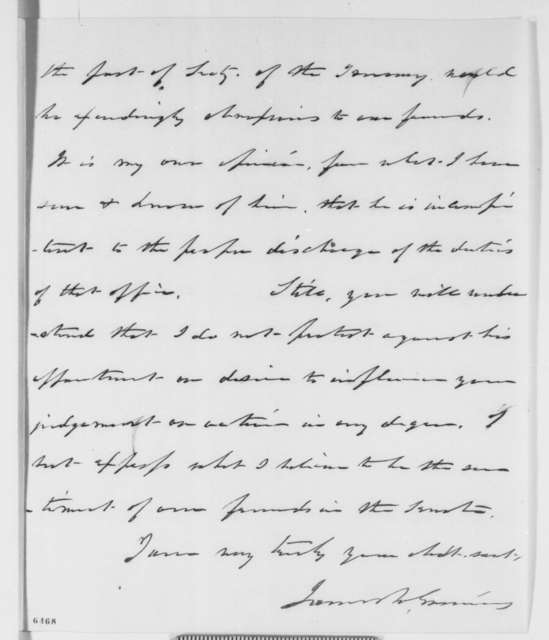 James W. Grimes to Abraham Lincoln, Sunday, January 20, 1861  (Cameron's incompetence)