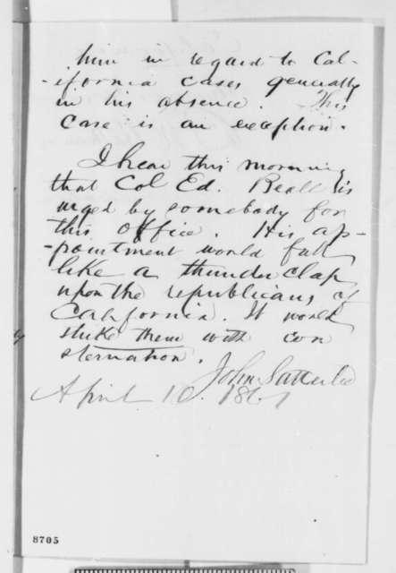James W. Simonton, et al. to John Satterlee, Wednesday, April 03, 1861  (Recommendation)