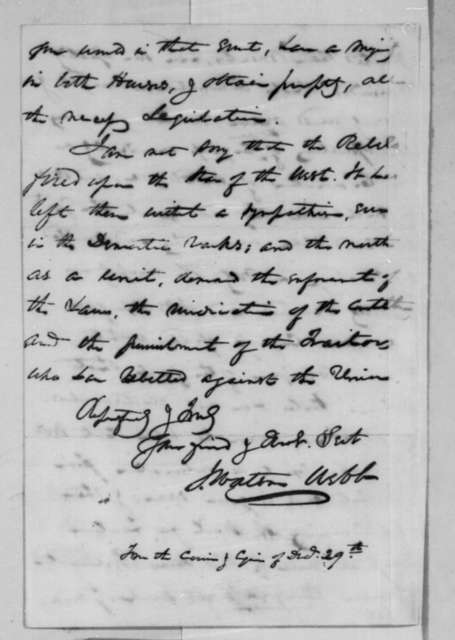 James Watson Webb to Abraham Lincoln, Saturday, January 12, 1861  (Secession crisis)