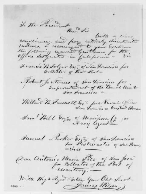 James Wilson to Abraham Lincoln, March 1861  (List of recommendations; endorsed by E.D.. Baker)