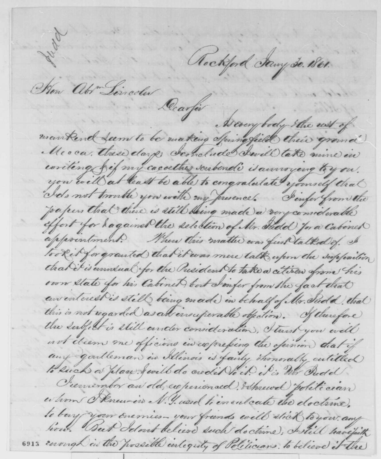 Jason Marsh to Abraham Lincoln, Wednesday, January 30, 1861  (Recommends Judd for cabinet)