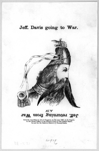Jeff Davis going to war. and Jeff returning from war. [Cartoon] [c. 1861].