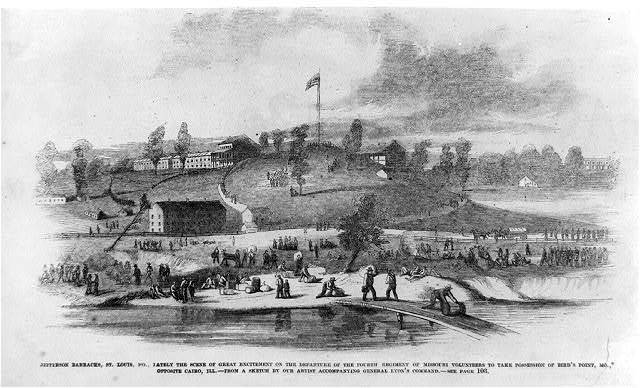 Jefferson Barracks, St. Louis, Mo., lately the scene of great excitement on the departure of the Fourth Regiment of Missouri Volunteers to take possession of Bird's Point, Mo., opposite Cairo, Ill. [Busy scene]
