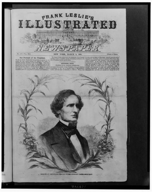 Jefferson Davis, first president of the new Southern Confederacy / photographed by Brady.
