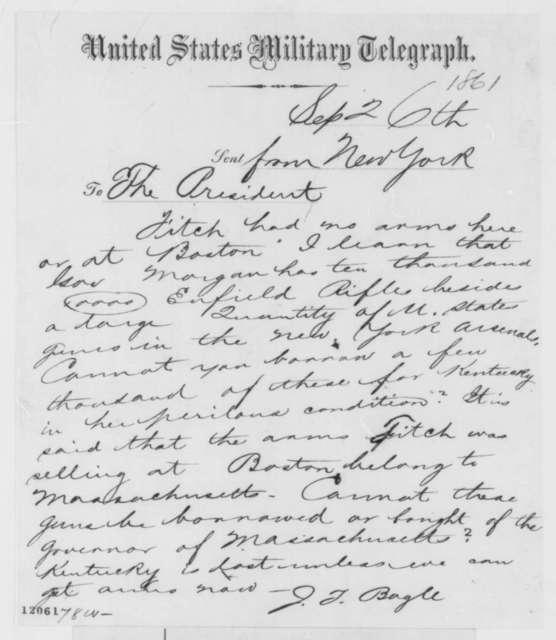 Jeremiah T. Boyle to Abraham Lincoln, Thursday, September 26, 1861  (Telegram regarding arms shortage)