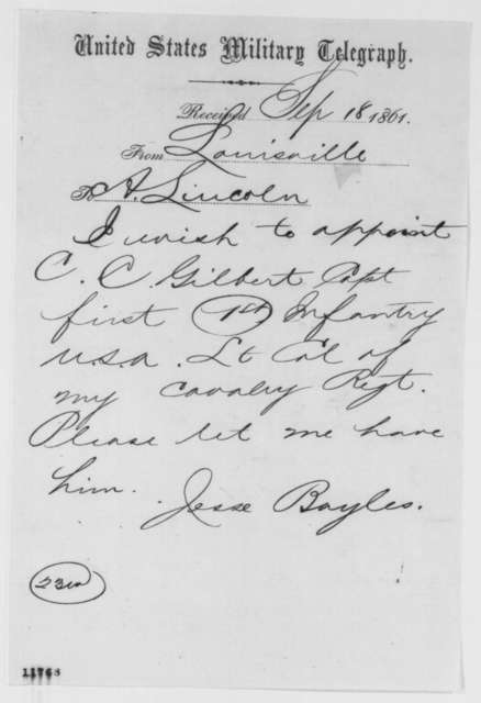 Jesse Baylis to Abraham Lincoln, Wednesday, September 18, 1861  (Telegram regarding military affairs)