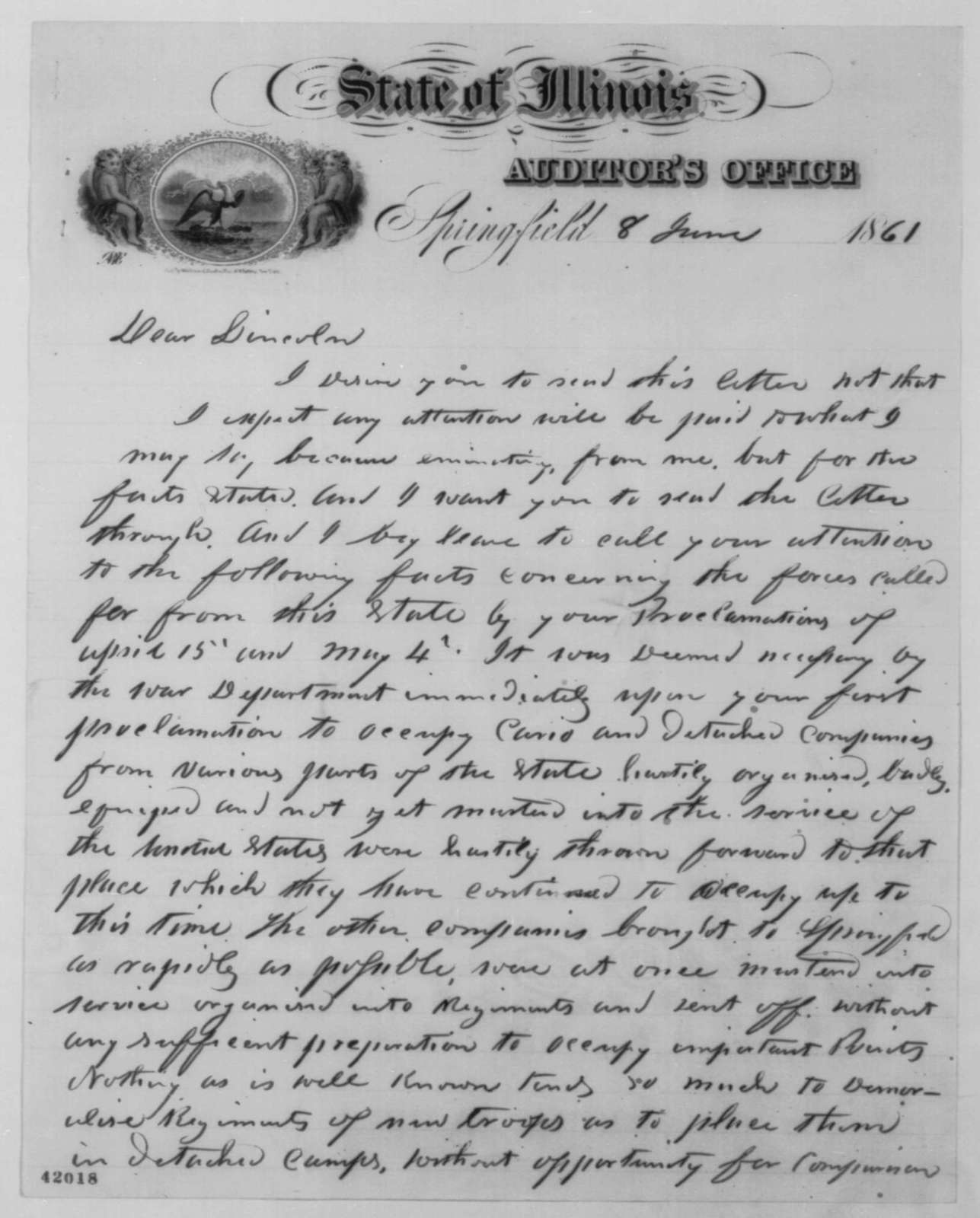Jesse K. Dubois to Abraham Lincoln, Saturday, June 08, 1861  (Military preparations in Illinois)