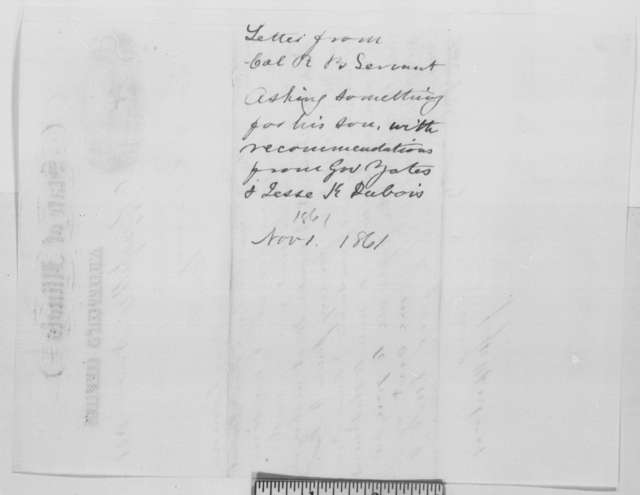 Jesse K. Dubois to Orville H. Browning, Sunday, November 17, 1861  (Recommendation)