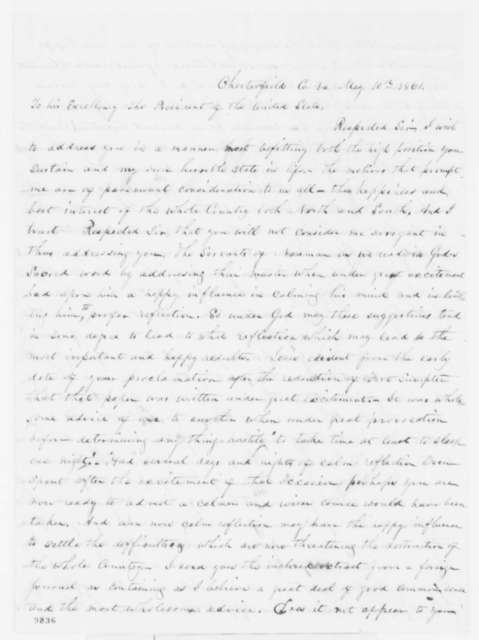 Jesse K. Powers to Abraham Lincoln, Friday, May 10, 1861  (North and South can never be reunited)