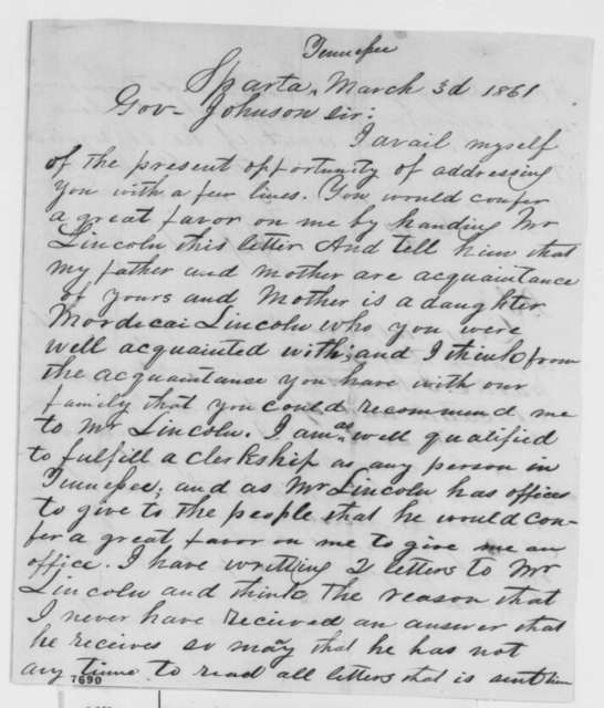Jesse Lincoln Gross and Clara P. Gross to Andrew Johnson, Sunday, March 03, 1861  (Seeks office)