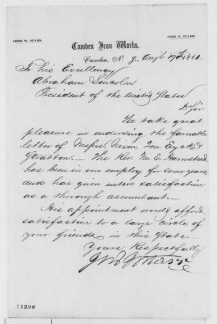Jesse W. Starr to Abraham Lincoln, Monday, August 19, 1861  (Recommendation)