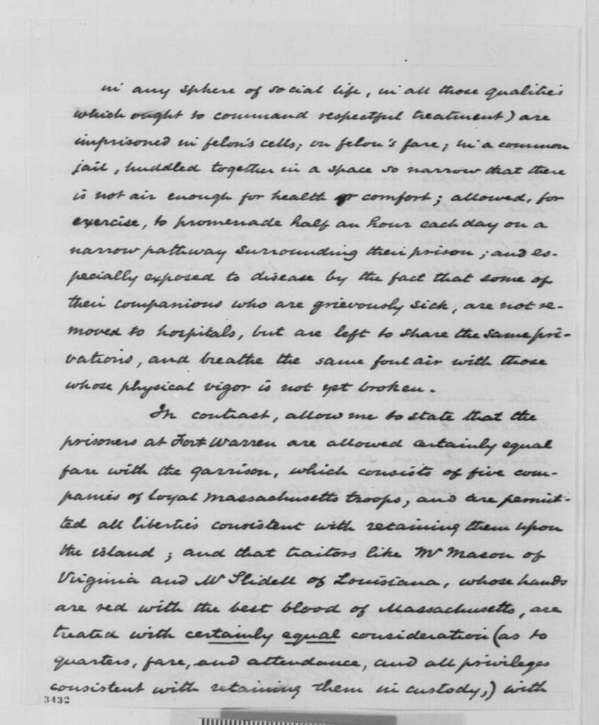 John A. Andrew to Abraham Lincoln, Monday, December 16, 1861  (Exchange of prisoners)
