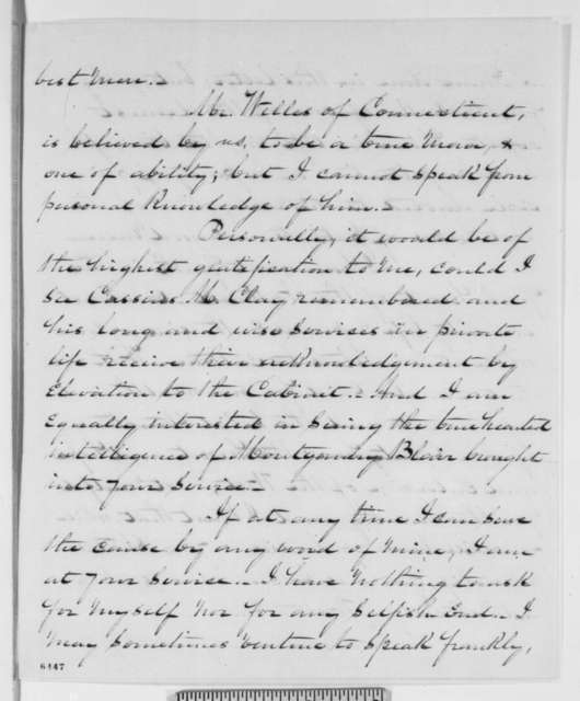 John A. Andrew to Abraham Lincoln, Sunday, January 20, 1861  (Cabinet recommendations)