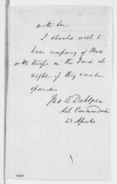 John A. Dahlgren, Monday, April 22, 1861  (Memorandum on gunboats near Washington)