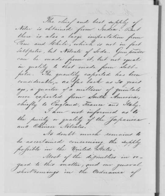 John A. Dahlgren to William H. Seward, Thursday, December 26, 1861  (Supply of nitrates)