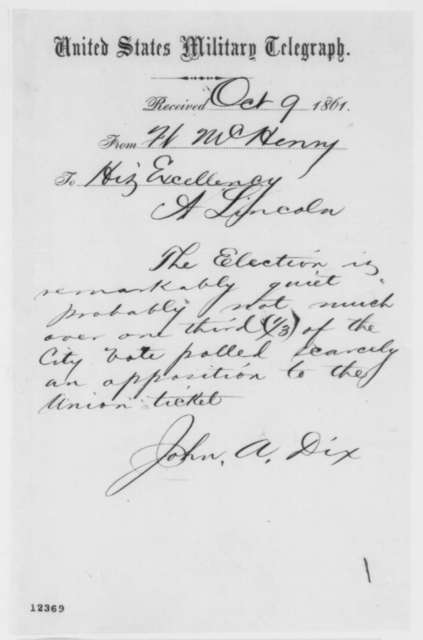 John A. Dix to Abraham Lincoln, Wednesday, October 09, 1861  (Telegram regarding Maryland elections)