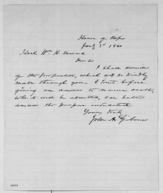 John A. Gilmer to William H. Seward, Thursday, January 03, 1861  (Answer to Seward's offer)