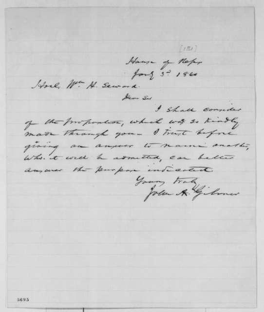 John A. Gilmer to William H. Seward, Thursday, January 03, 1861  (Answer to Seward's offer)