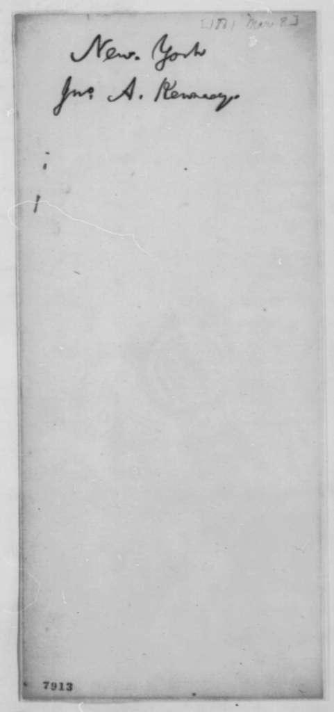 John A. Kennedy to Preston King, Friday, March 08, 1861  (Seeks office)