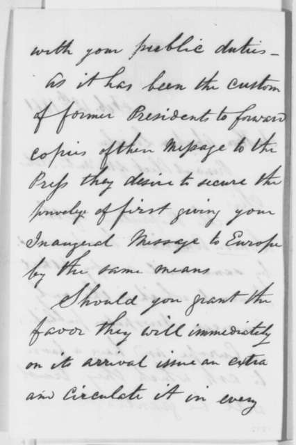 John A. Knight to Abraham Lincoln, Tuesday, February 12, 1861  (Seeks copy of Inaugural Address to be published in London)