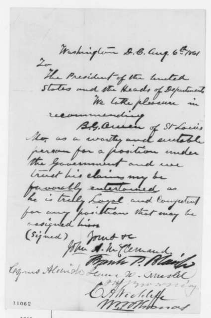 John A. McClernand,  et al. to Abraham Lincoln, Tuesday, August 06, 1861  (Recommendation)