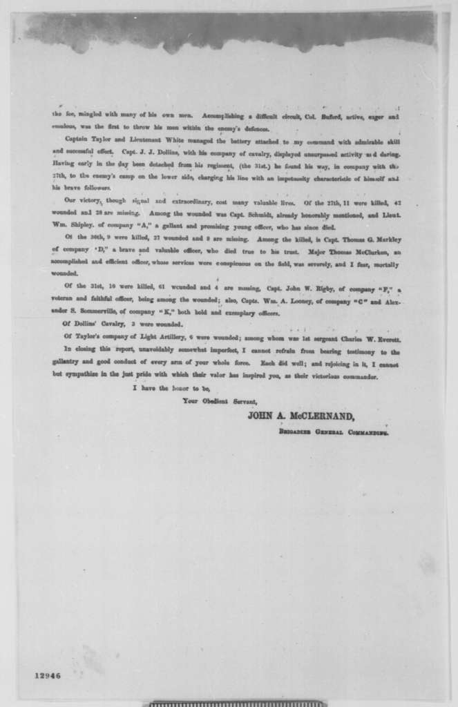 John A. McClernand to Ulysses S. Grant, Tuesday, November 12, 1861  (Printed Report)