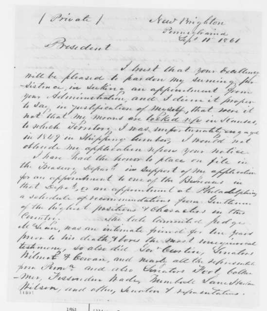 John Allison to Abraham Lincoln, Wednesday, September 11, 1861  (Pennsylvania office seeker)