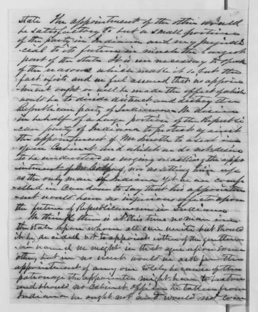 John B. Cravens, Cyrus M. Allen, and James C. Veatch to Abraham Lincoln, Friday, January 18, 1861  (Position in cabinet for Indiana)