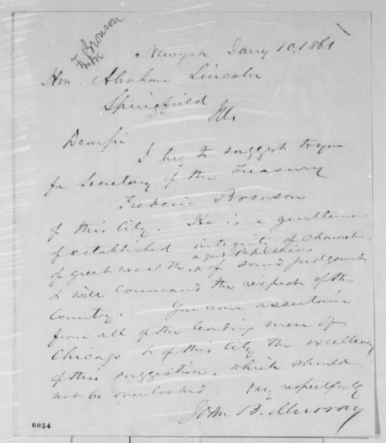 John B. Murray to Abraham Lincoln, Thursday, January 10, 1861  (Recommends Frederick Bronson for cabinet)