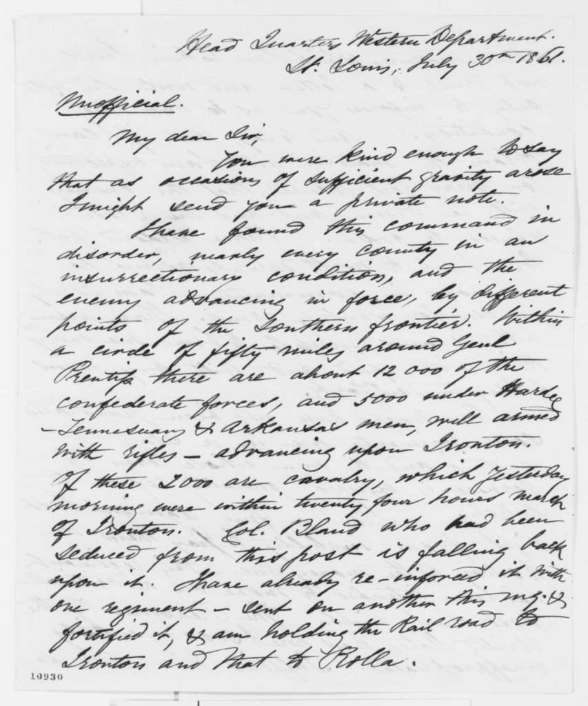 John C. Fremont to Abraham Lincoln, Tuesday, July 30, 1861  (Report on affairs in Missouri)