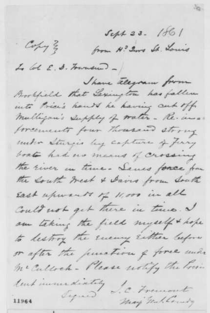 John C. Fremont to Edward D. Townsend, Monday, September 23, 1861  (Military events in Missouri)