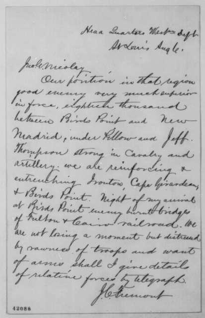 John C. Fremont to John G. Nicolay, August 6 [1861]  (Military affairs in Missouri)